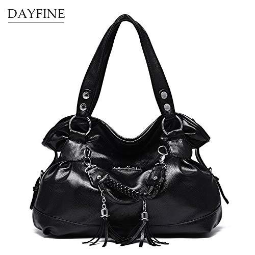 DAYFINE Women Top Handle Tassel Satchel Shoulder Bag Messenger Tote Washed Leather Purses Bag Tassel Design Handbag Women