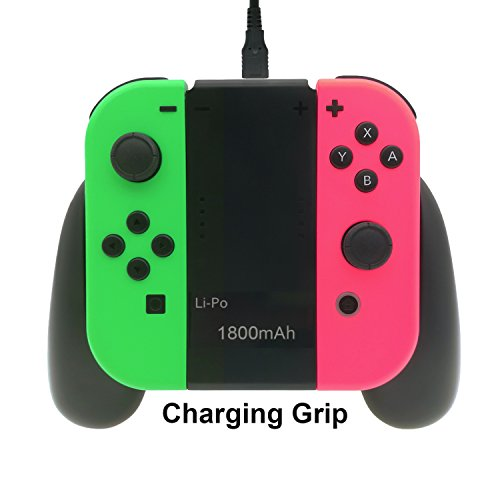 Charging Grip for Nintendo Switch Joy-Con, Built-in 1800mAh Rechargeable Battery, Charger for nintendo switch Joy-Cons with USB Type-C Charging Cable
