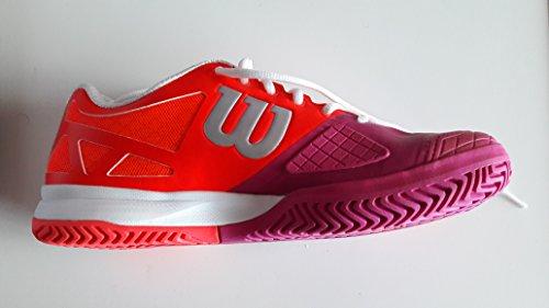 Wilson Rush Pro 2.0 W, Unisex adultos Zapatillas de tenis, Rojo / Rosa / Blanco, 42