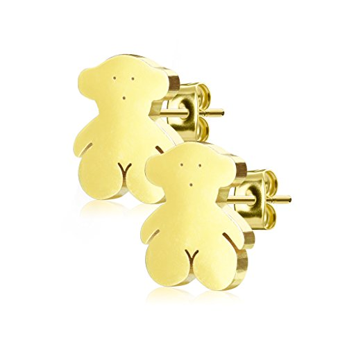 Pair Of Gold Teddy Bear Earring Studs - 316L Surgical Steel - 20G (0.8mm)