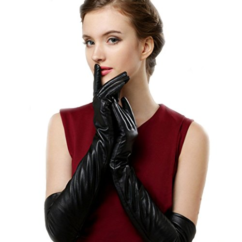 D.King Womens Long Faux Leather Gloves Winter Evening Dress Touchscreen (Leather Elbow Length Gloves)