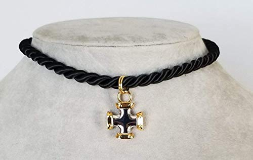 Trendy, Black Silk Rope Choker, with Gold and Silver two tone Cross Pendant/Charm