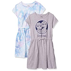 Amazon Brand – Spotted Zebra Girls Disney Star Wars Marvel Frozen Princess Knit Short-Sleeve Cinch-Waist Dresses