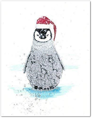7e276de74fc3c Image Unavailable. Image not available for. Color  Christmas Baby Penguin  Santa Watercolor ...