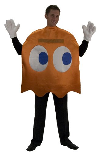 InCogneato Men's Pac-Man Clyde Deluxe Adult Costume Standard (One Size) Orange (Pac Man Halloween Costume)