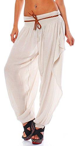 malito Bombacho Boyfriend Cinturón Aladin Harem Pantalón Sudadera Baggy Yoga 1584 Mujer Talla Única beige