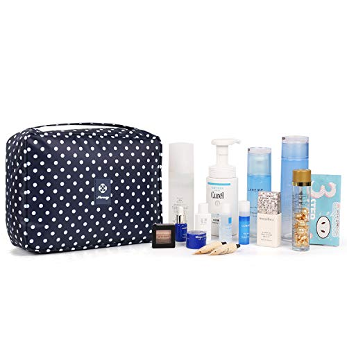 Hanging Travel Toiletry Bag Cosmetic Make up Organizer for Women and Girls Waterproof (C-Polka dot)