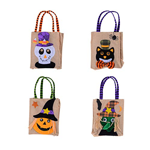 Kesoto Halloween Trick or Treat Goody Bags Halloween Candy Totes Bags for Kids Halloween Party Decorations - Pack of 4 ()