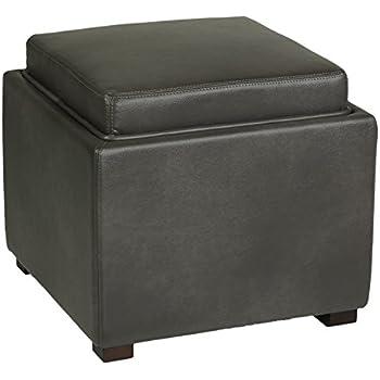 Cortesi Home Mavi Grey Top Tray Storage Cube Ottoman In Bonded Leather