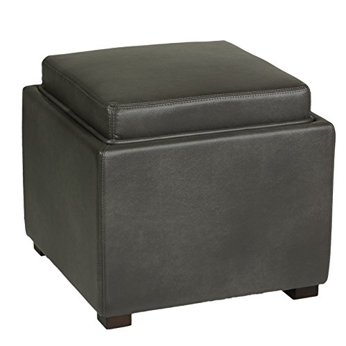 Cortesi Home Mavi Grey Top Tray Storage Cube Ottoman in Bonded Leather