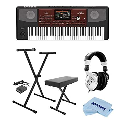 Korg Pa700 61 Keys Velocity Sensitive Professional Arranger Keyboard -  Bundle With On-Stage KPK6520 Keyboard Stand/Bench Pack with Sustain Pedal,
