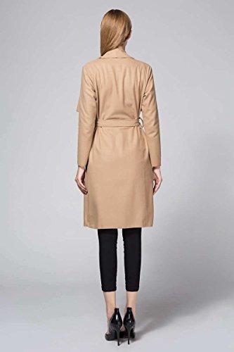 ... OUMIZHI Damen Mantel Trenchcoat mit Gürtel Onesize Lang und Kurz Khaki  yDr3wCuQT 3d01f4a5e8