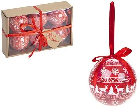 Toyland Pack Of 6-80mm Metallic Red /& White Nordic Style Polyfoam Decorated Christmas Tree Baubles