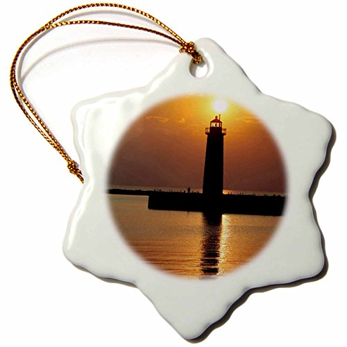 (3dRose orn_91212_1 MI, Muskegon Lighthouse on Lake Michigan-US23 RER0002-Ric Ergenbright-Snowflake Ornament, Porcelain, 3-Inch)