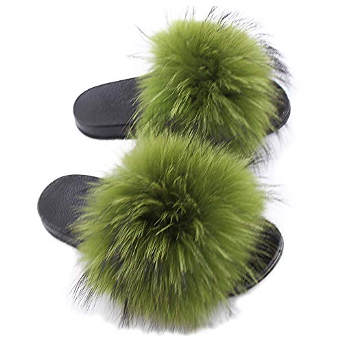 (Yu He Womens Luxury Real Raccon Fur Slippers Slides Indoor Outdoor Flat Soles Soft Fall Winter Shoes Apple Green 41 )
