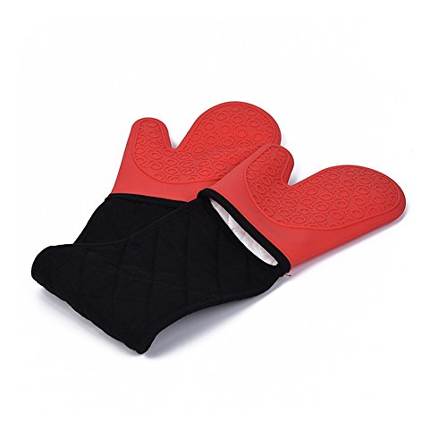 """DoMii Connected Oven Mitts All-In-One Potholder Gloves Heat Resistant Quilted Silicone Oven Mitts 33.8"""" x 7"""""""