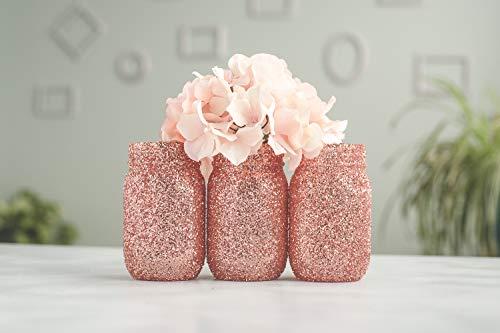 6 Rose Gold Wedding Centerpieces Vases Bulk, Glitter Mason Jars, Bridal Shower, Baby Shower -