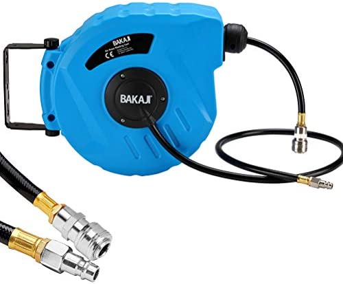 Bakaji 2822725 Compressed Air Hose Reel with Tube, 10 m 1/4 Inch Connection, Wall Mounting