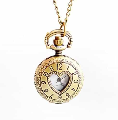 Boshiya Heart Shap Pocket Watch Retro Design Neclace Clock Gronze