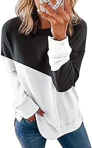 imrusan Women Casual Long Sleeve Crewneck Color Block Sweatshirt Side Split Pullover Tops Shirts, S-2XL