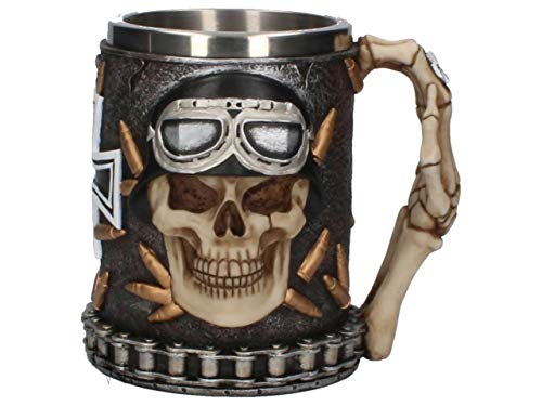 - Aged Iron Cross Skull Gothic Maltese Boxed Tankard Mug