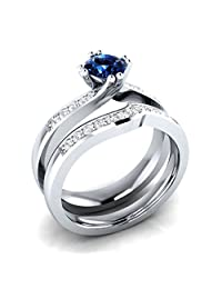 Dream Jewels 1.00 ct Lab Created Blue Sapphire & Cz Diamond Bridal Ring Set, 2 Piece Alloy in 14k White Gold Over Engagement Wedding Ring Set