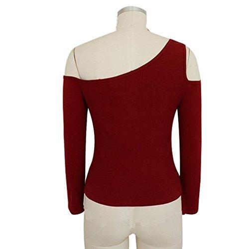 Solido Vino YUMM Top Camicetta T Collo O Rosso Sciolto Shirts Donna Tops Casuale Ladies TxHXT