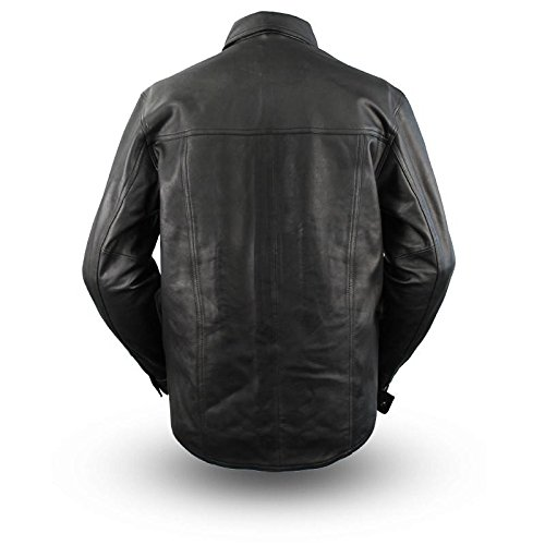 First Manufacturing Men's Lightweight Leather Shirt (Black, XXX-Large) by First Mfg Co (Image #2)