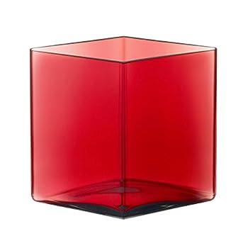 "Iittala Ruutu Romb Glass Vase 8"" X 4.5"" X 7"" Cranberry"
