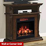 Corinth Electric Fireplace TV Stand in Walnut with Infrared Firebox (Heats 1,000 square feet) For Sale