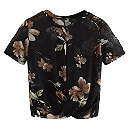 Fashion Women Summer Print O-Neck Short Sleeve Summer Casual Tops T-Shirt