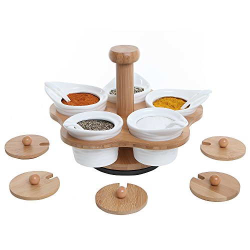 MyGift Ceramic Condiment Rotating Bamboo