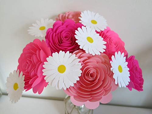 - Shades of Pink 3 Inch Roses & Daisies on Stems, One Dozen, Princess Theme Party Decorations, One Dozen Flowers, Centerpiece Idea, Gift For Her