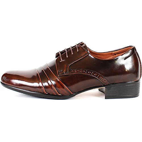 Nuevos Zapatos De Cuero Formales De Lujo Del Cordón Para Arriba De La Manera Para Hombre De Brown De Brown Del Vestido