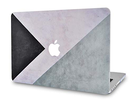 LuvCase Rubberized Plastic Hard Shell Case Cover Compatible MacBook Air 13 Inch A1466 / A1369 (No Touch ID) (Black White Grey) Black Rubberized Plastic Case