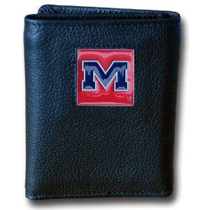 College Tri-fold Leather Wallet - Mississippi Rebels