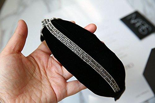 usongs New hair accessories black velvet winter luxury diamond hoop headband width toothed buckle head hoop by usongs (Image #2)