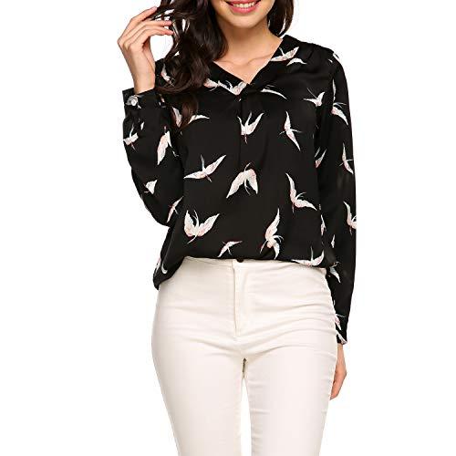 Zeagoo Women's Long Sleeve Printed Chiffon Shirt Blouse Tops, Black, XX-Large