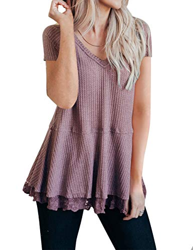 MEROKEETY Women's Short Sleeve V Neck Waffle Knit Lace Trim Flowy Tunic Tops ()
