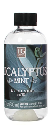 Aromatherapy Hosley Premium Eucalyptus Mint Reed Diffuser Refills Oil, 230 ml (7.75 fl oz) Made in USA. BULK BUY. Ideal GIFT for Weddings, Spa, Reiki, Meditation Settings W1