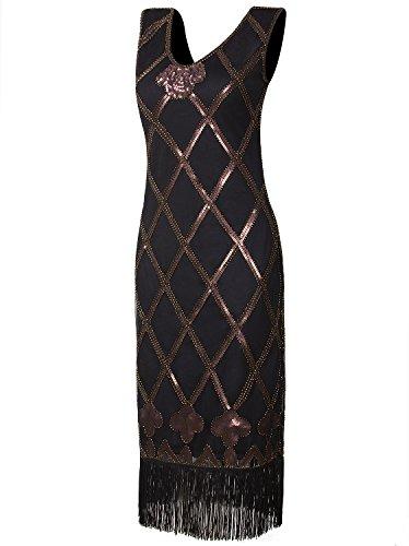 Vijiv Vintage inspired 1920s Art Deco Charleston Sequin Fringe Cocktail (Rumba Costume Patterns)
