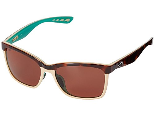 Costa Del Mar Women's Anaa Polarized Cateye Sunglasses, Retro Tortoise/Cream/Mint, 55.4 mm