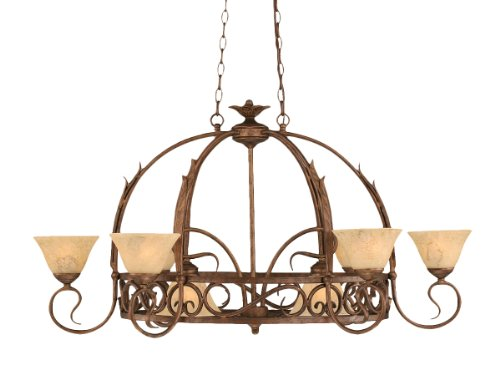 Toltec Lighting 216-BRZ-508 Leaf Eight-Light Pot Rack with Eight-Hooks Bronze Finish with Italian Marble Glass, 7-Inch (Pots Not Included) (Traditional 8 Light Pot)