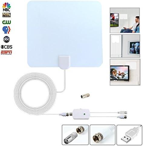 Clear View - Antena HDTV, amplificador de antena de visión clara, antena interior para TV digital, antena HDTV, ultra fina, cable coaxial de alto rendimiento de 3 m con conector estándar versión