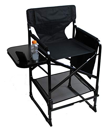 World Outdoor Products XL Tall Directors Chair with Adjustable, Automatic Footrest, XL Side Table with Cup and New Cellphone Holder, Dual-Pocket Side Bag, New Removable Front and Back Patches.
