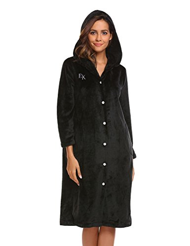 long black fleece dressing gown - 6