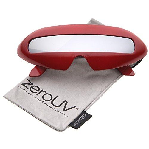 zeroUV - Futuristic Costume Single Shield Colored Mirror Lens Novelty Wrap Sunglasses 70mm (Red / Silver - Sunglasses Futuri