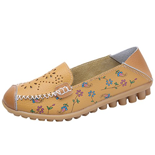 Mordenmiss Mocassino Da Donna In Pelle Floreale Slip-on Driving Mocassini Stile 2 Giallo