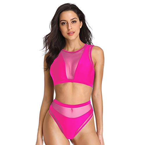 (Dixperfect Women's Mesh Insert Bikini Sets Swimsuits High Neck Crop Top with High Waisted Bottoms Bathing Suit (L, Pink))