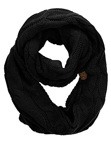 C.C Women's Winter Cable Knit Sherpa Lined Warm Infinity Pullover Scarf, Black